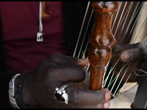 Baboulaye Cissokho seller of musical instruments on Awalebiz plays Kora