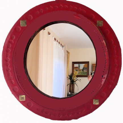 Red Passion Leather Mirror