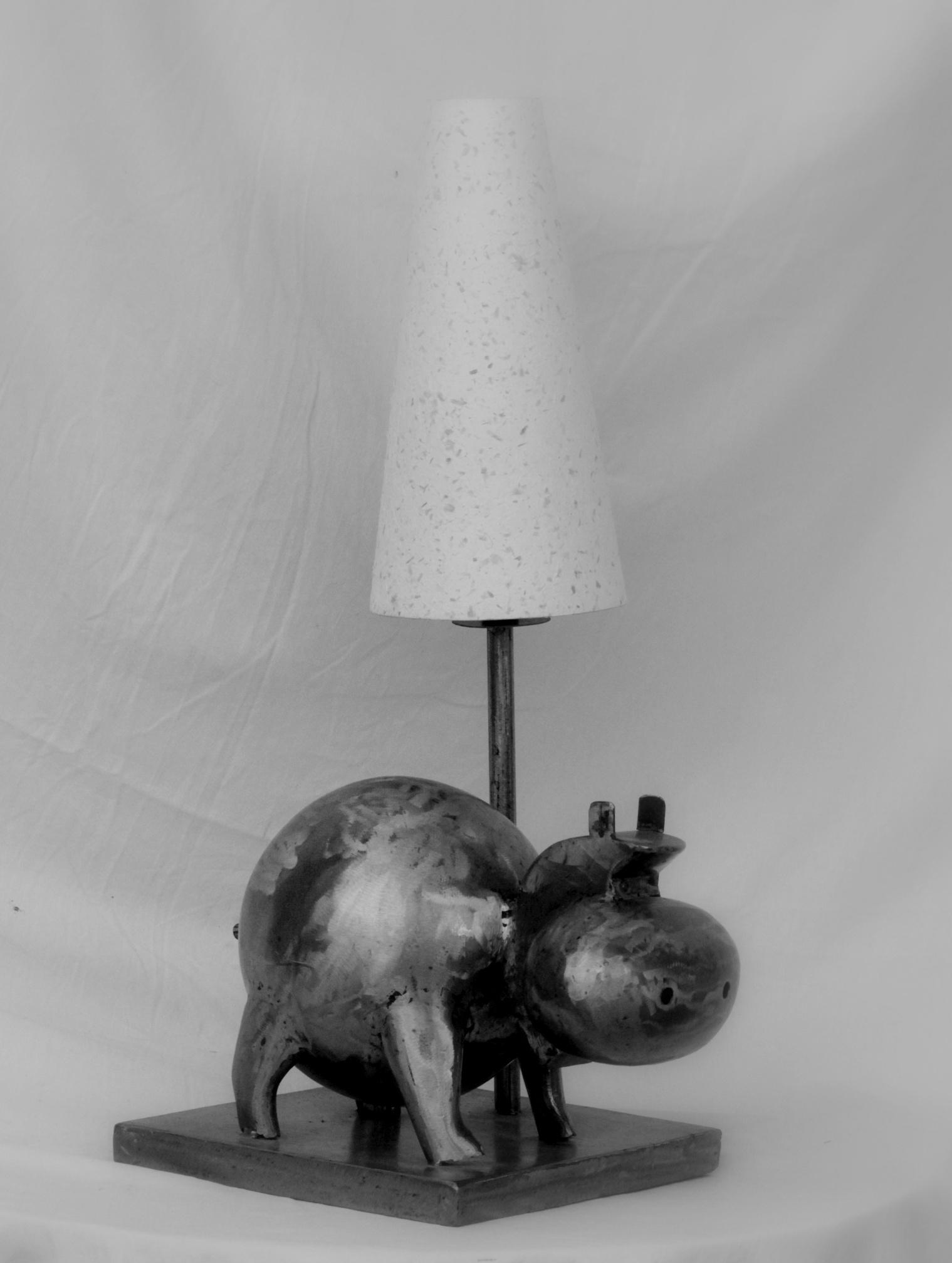 Lampe Hippopotame métal brossé