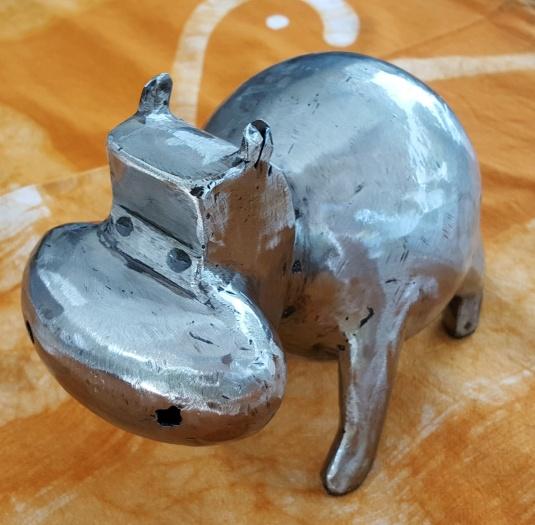 Hippopotame Petit Modèle en fer brossé