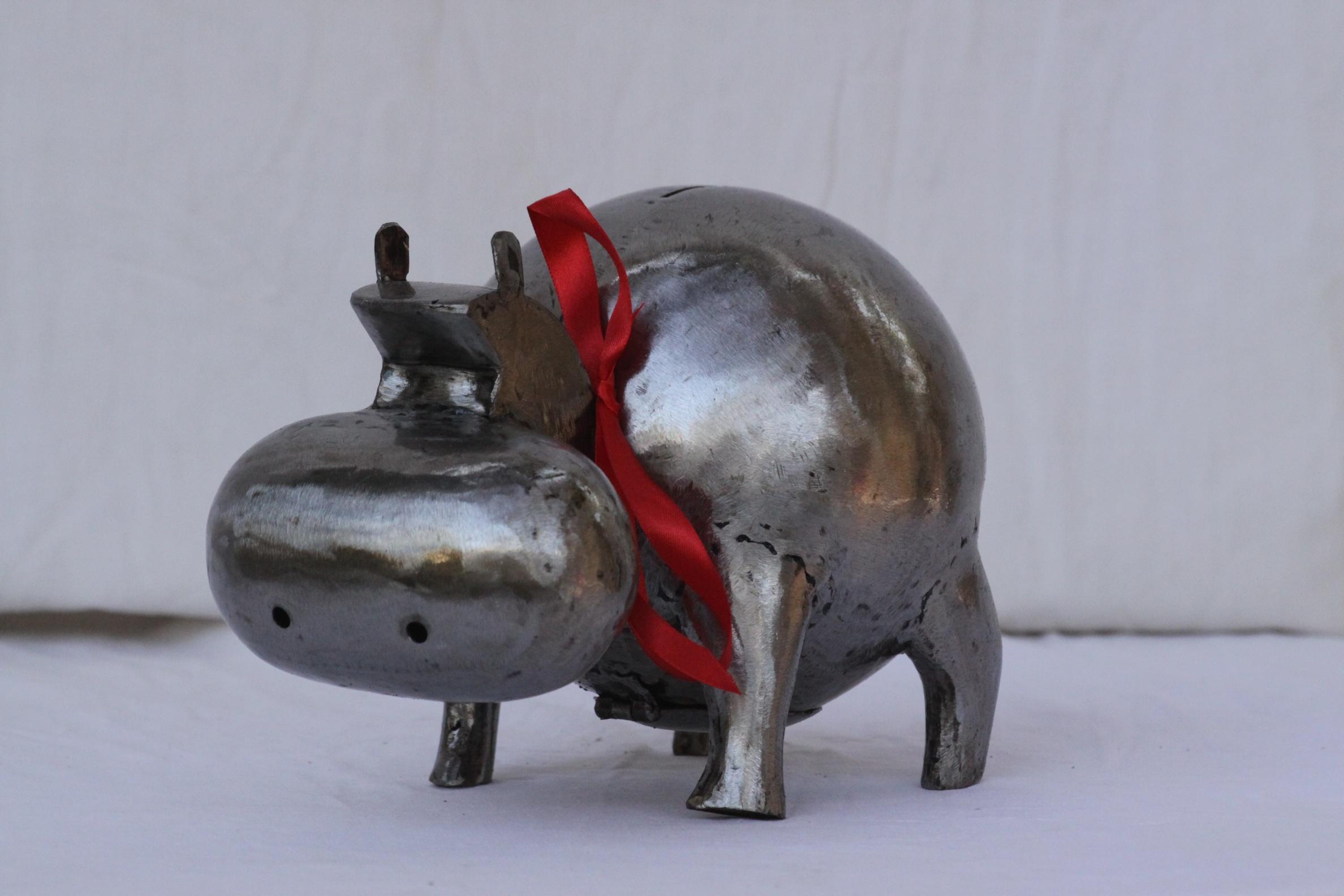 Hippopotame métal brossé petit modèle