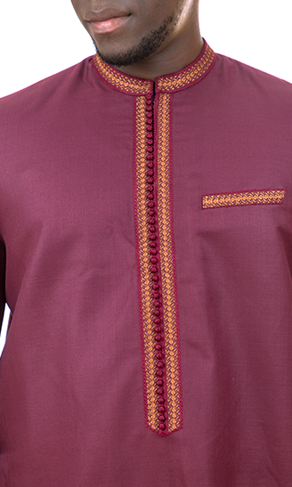 Kiba Mao Collar Red Burgundy