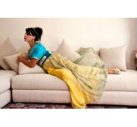 Robe marocaine bleue-jaune
