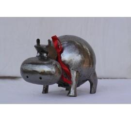 Hippopotame métal brossé grand modèle