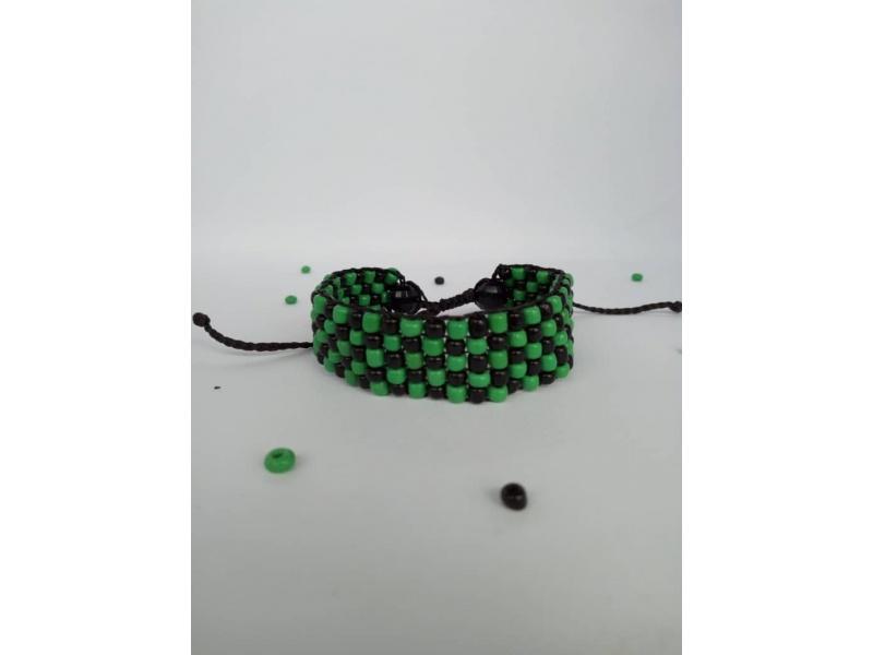 DAMIER green / black pearl bracelet