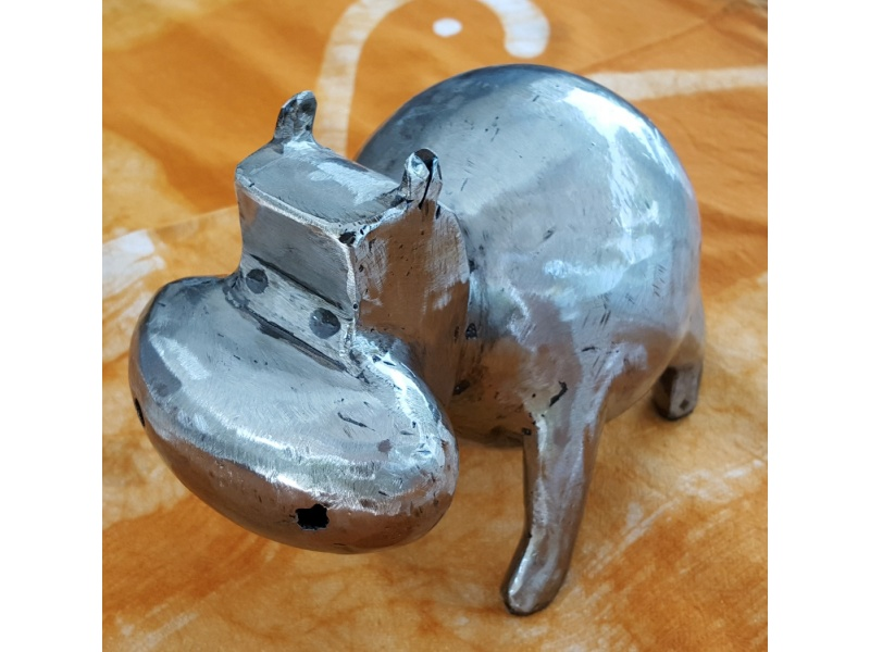 Mini hippopotamus in brushed iron