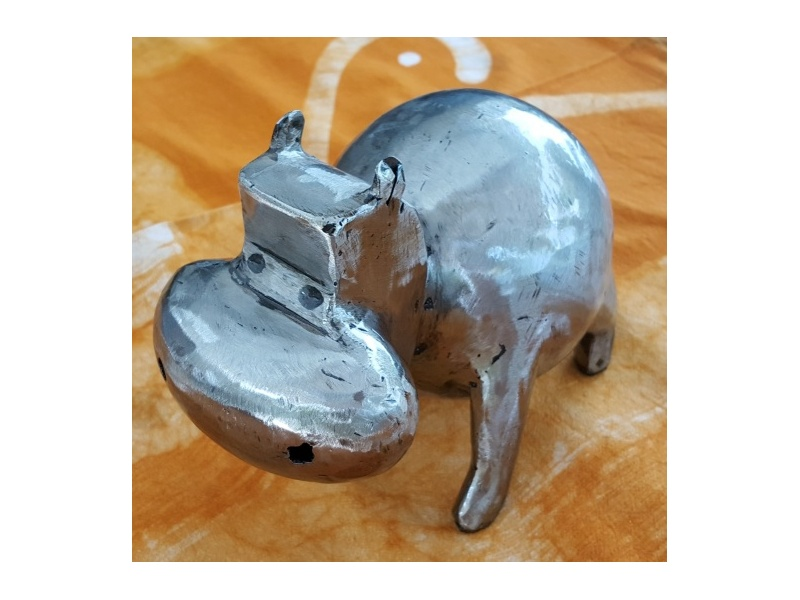 Small model hippopotamus in brushed iron