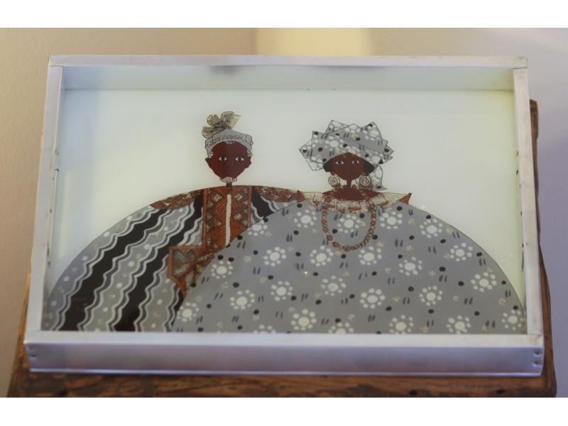 Plateau couple, noir et blanc, peinture sous verre