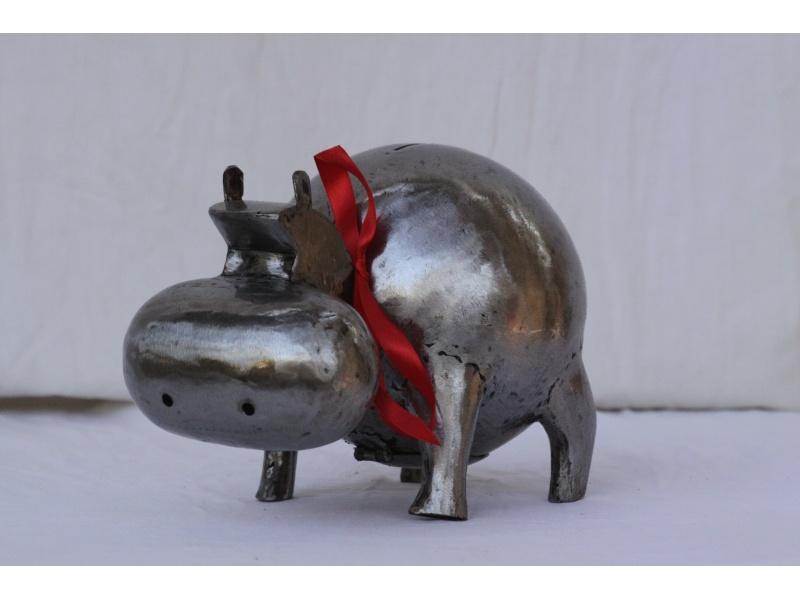 Hippopotamus brushed metal small model