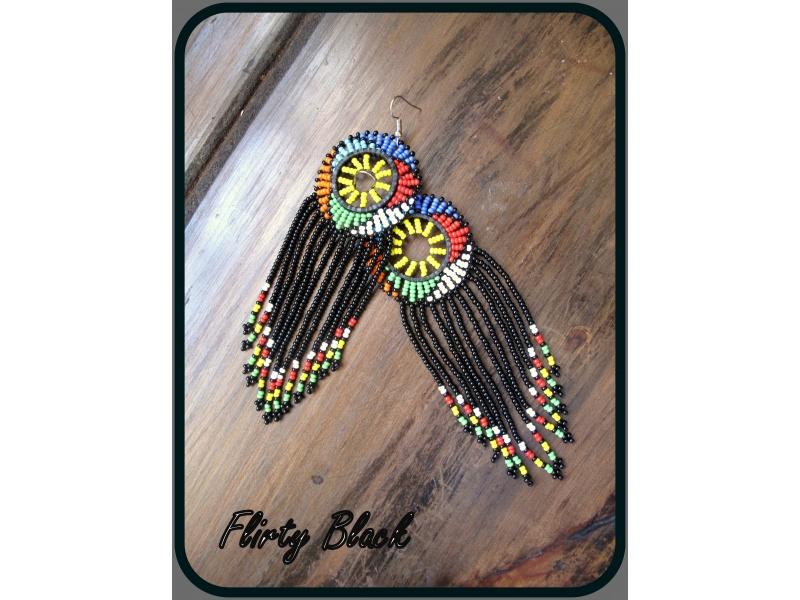 African Beaded Zulu Waterfall Earrings