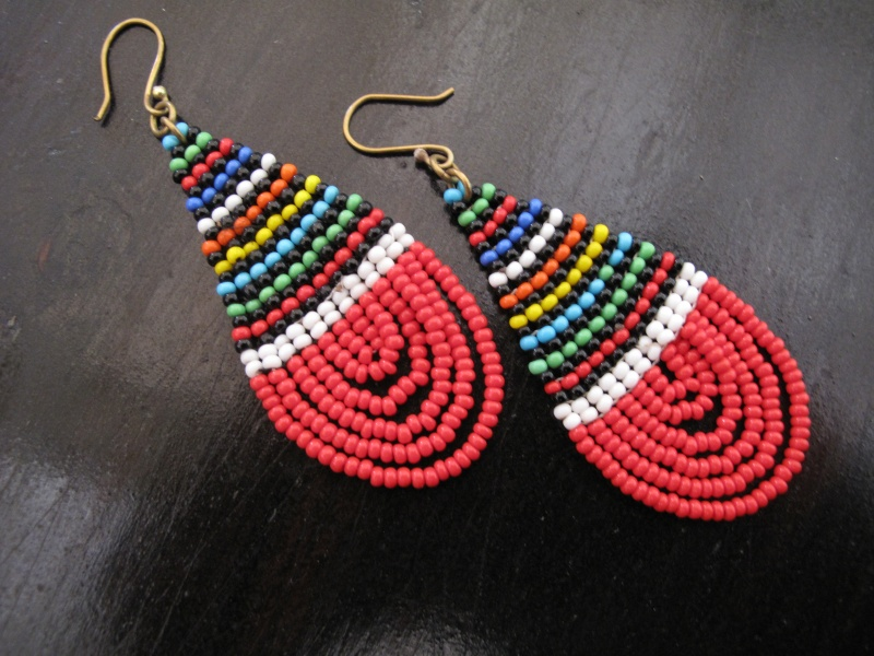African Beaded Oval Zulu Earrings